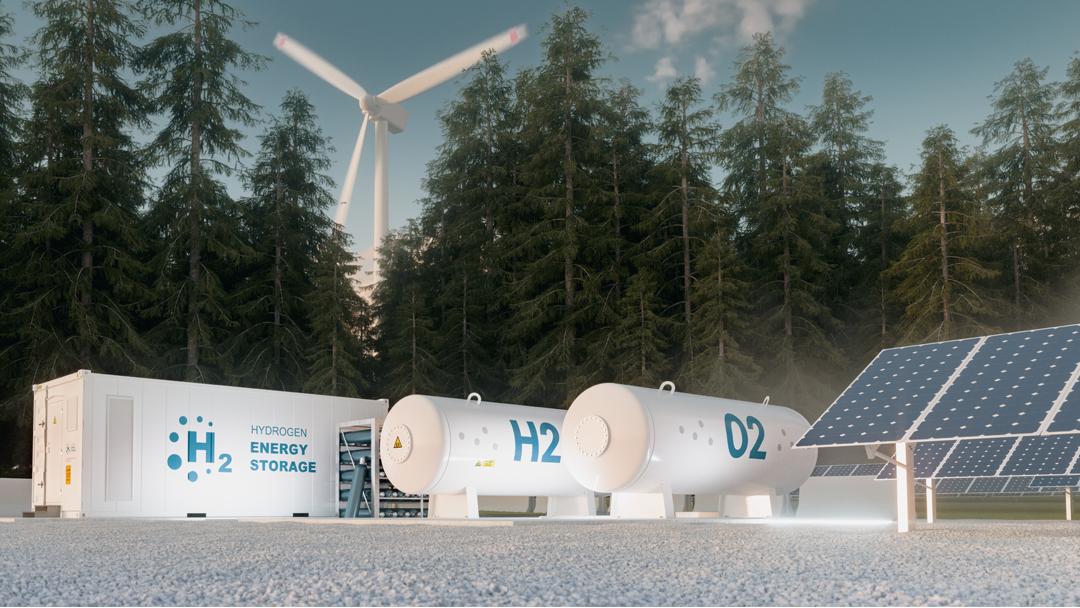 Grüner Wasserstoff aus Ökostrom und Wasser Container Wald Windrad
