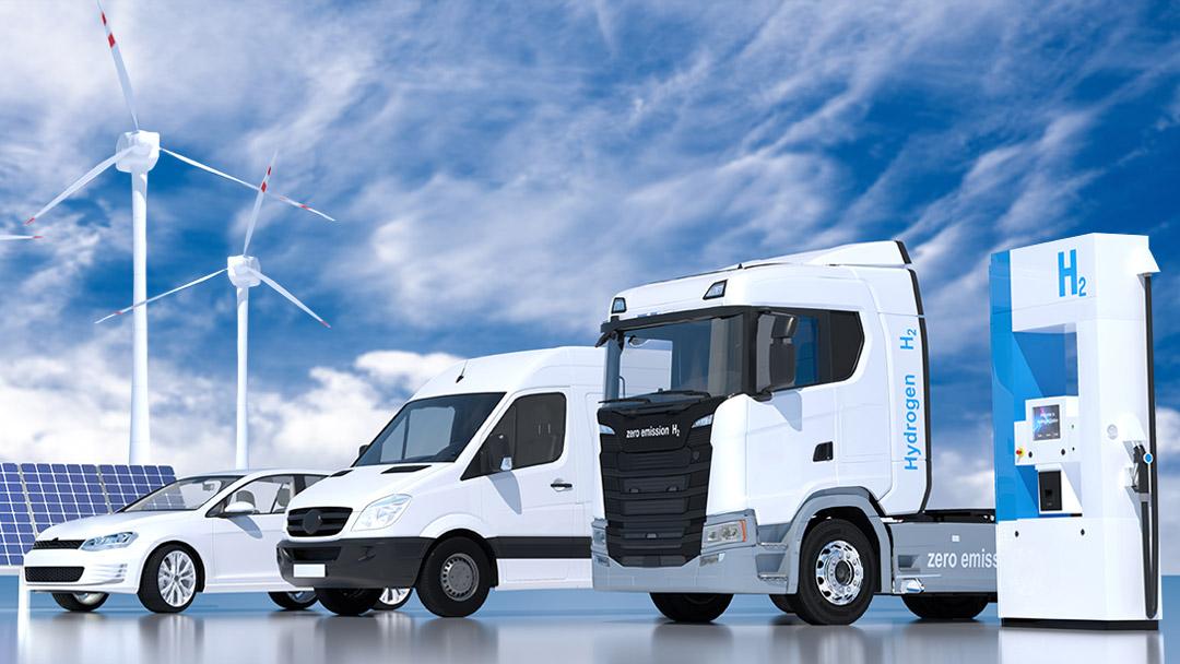 Wasserstoff H2 Tankstelle Laster Kastenwagen PKW PV Windräder