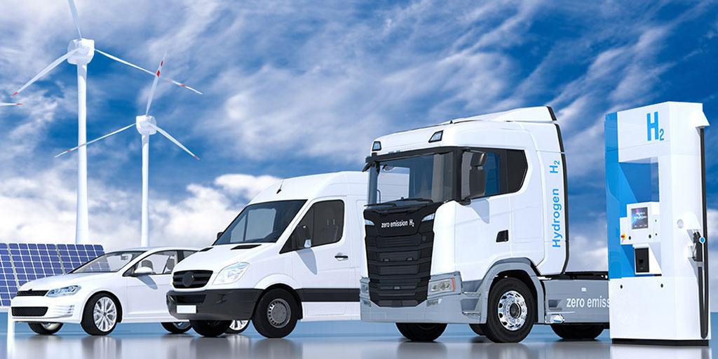 Grafik Auto, LKW, PV, Wind, H2, Nationale Wasserstoffstrategie