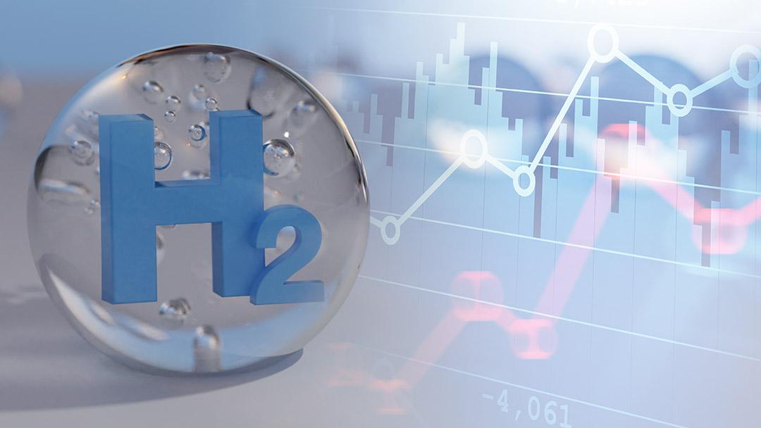 H2-Bubble mit Wirtschaftsgraph Markthochlauf von Wasserstoff