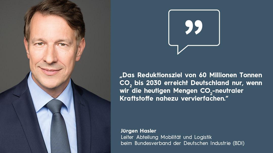 Zitatbox Portrait Jürgen Hasler CO2-neutrale Kraftstoffe