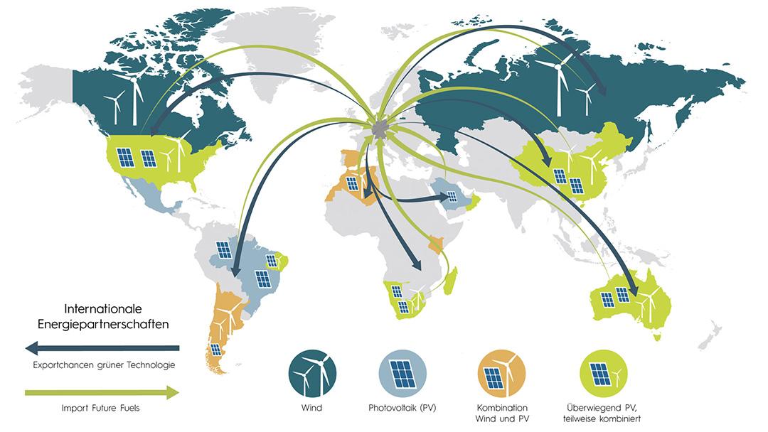 Grafik grüner Wasserstoff als weltweite Perspektive