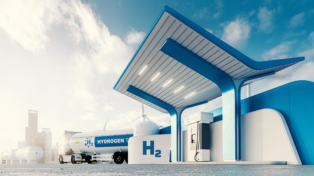 Wasserstoffauto mit Brennstoffzelle tankt an einer solchen Wasserstofftankstelle