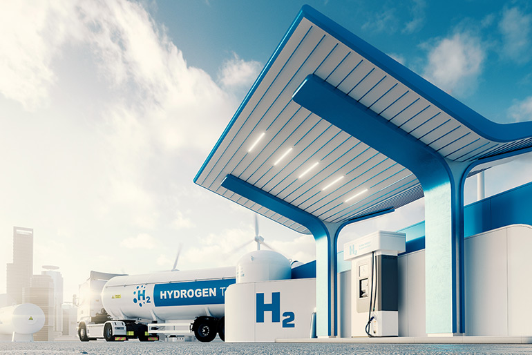 Wasserstoffautos tanken an solchen Wasserstofftankstellen